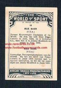 1930's South African Tobacco World of Sport Max Baer ring legend boxer